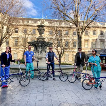Some of the Bart's Heart Centre staff with their Bromptons