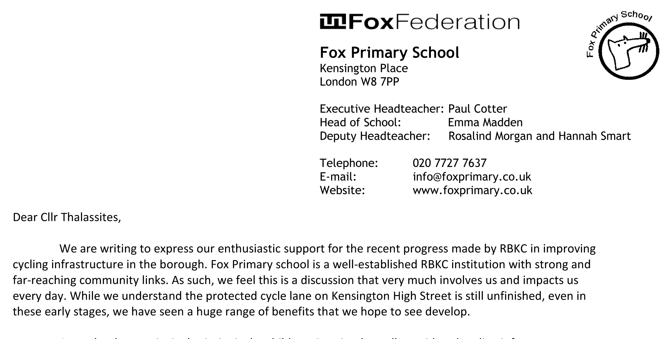Fox Primary School Expresses Support for the High Street Kensington Cycle Lane
