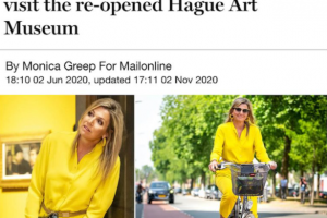 Queen Maxima of the Netherlands cycling to art museum opening